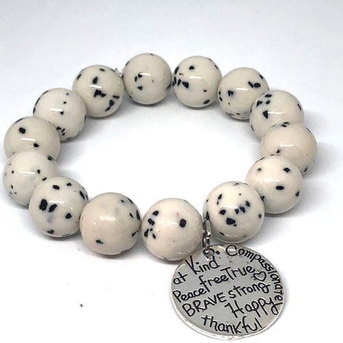 14mm  Dalmatian Jade with Kind Heart Medal