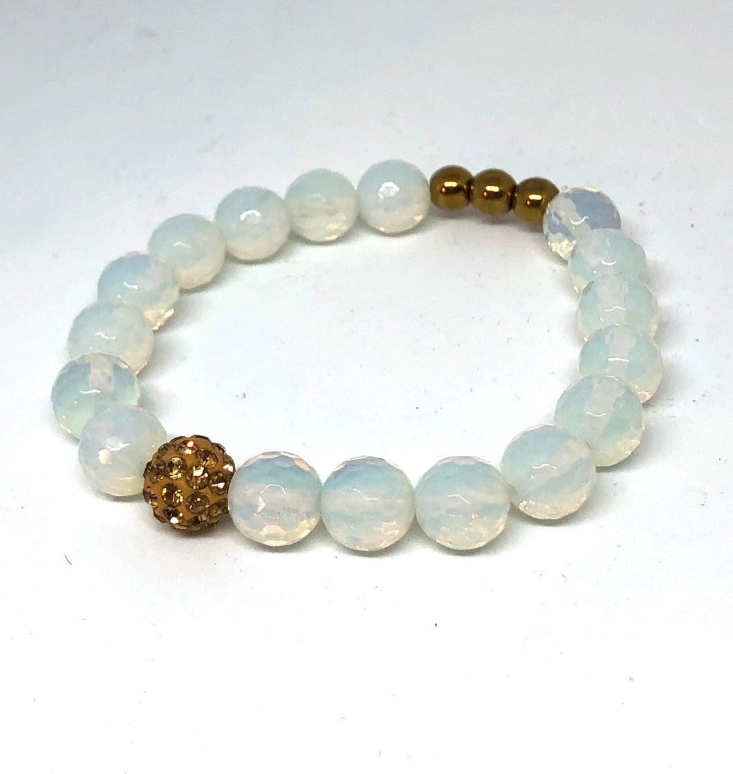 Opalite and Gold Pave Bracelet