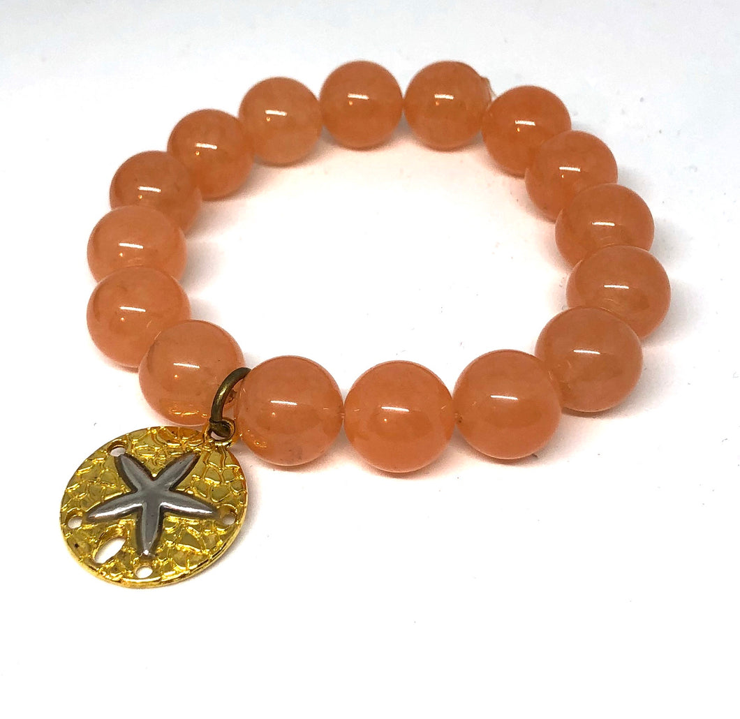 12mm Orange Jade with Gold Sand Dollar