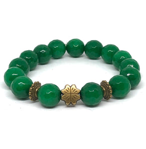 12mm emerald green faceted jade with bronze shamrock