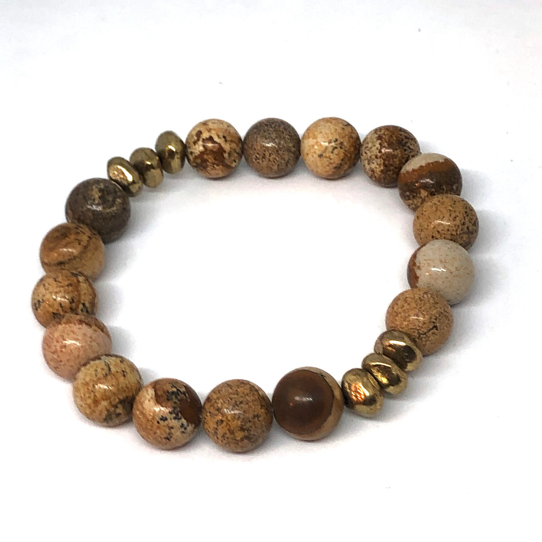 Picture Jasper and Gold Accent Layering Bracelet