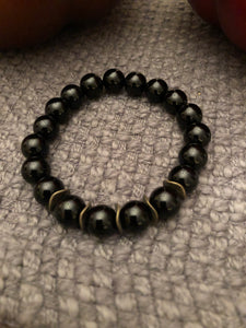 10mm Black Onyx with Bronze Metal Accents