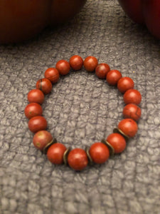 10mm Red Jasper with Bronze Metal Accents