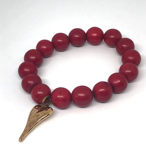 12mm Cranberry Jade with Golden Hammered Heart