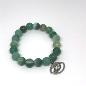 10mm Green Stripe Agate with Eagles Medal