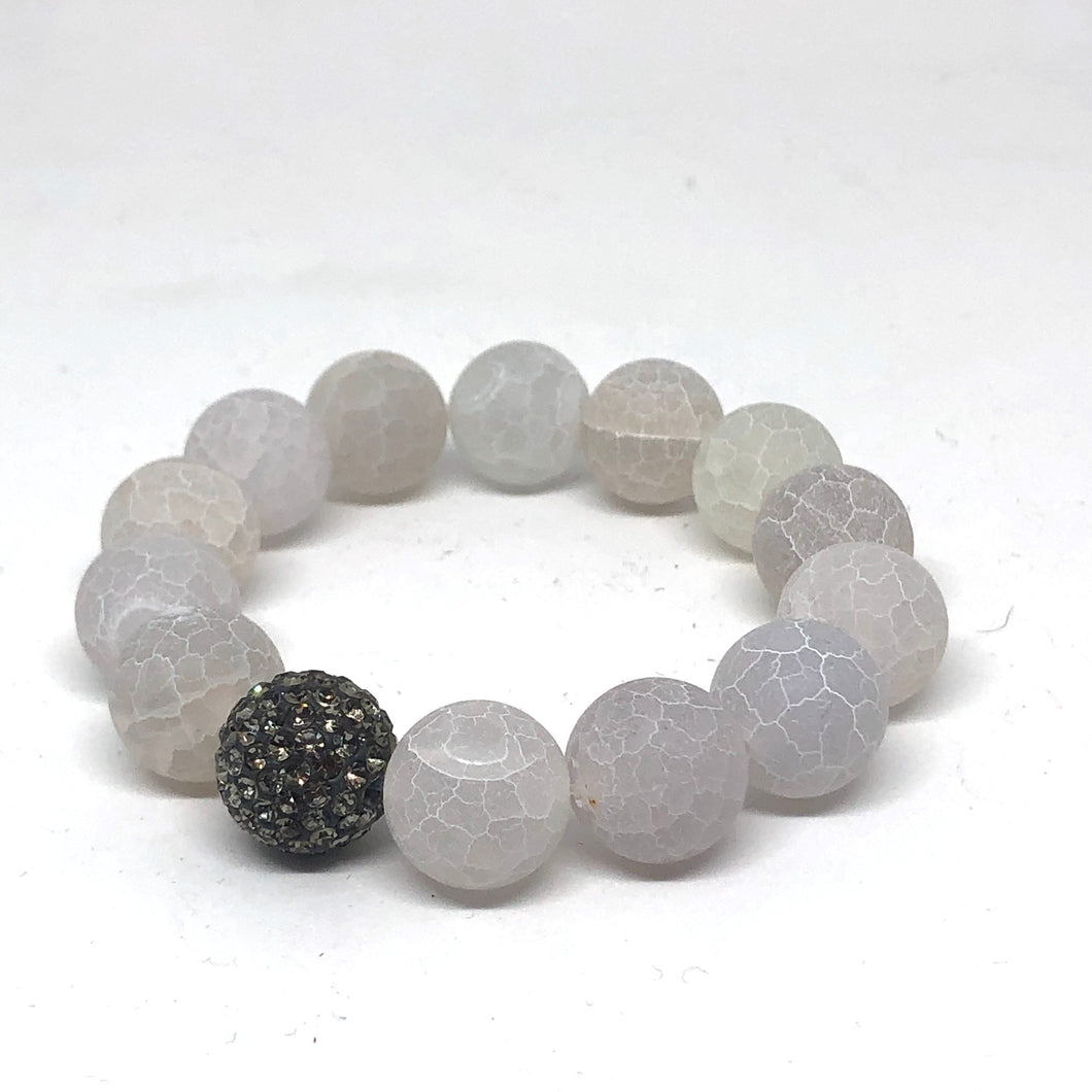 14mm Matte White Crackle Agate with Black Diamond Pave