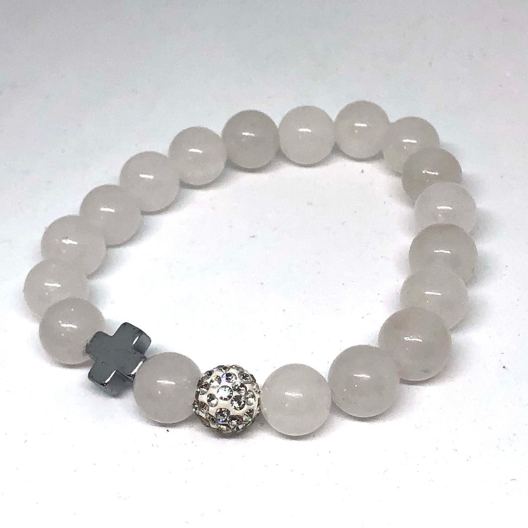 Pale White Agate and Silver Hematite Cross Hope Collection Bracelet