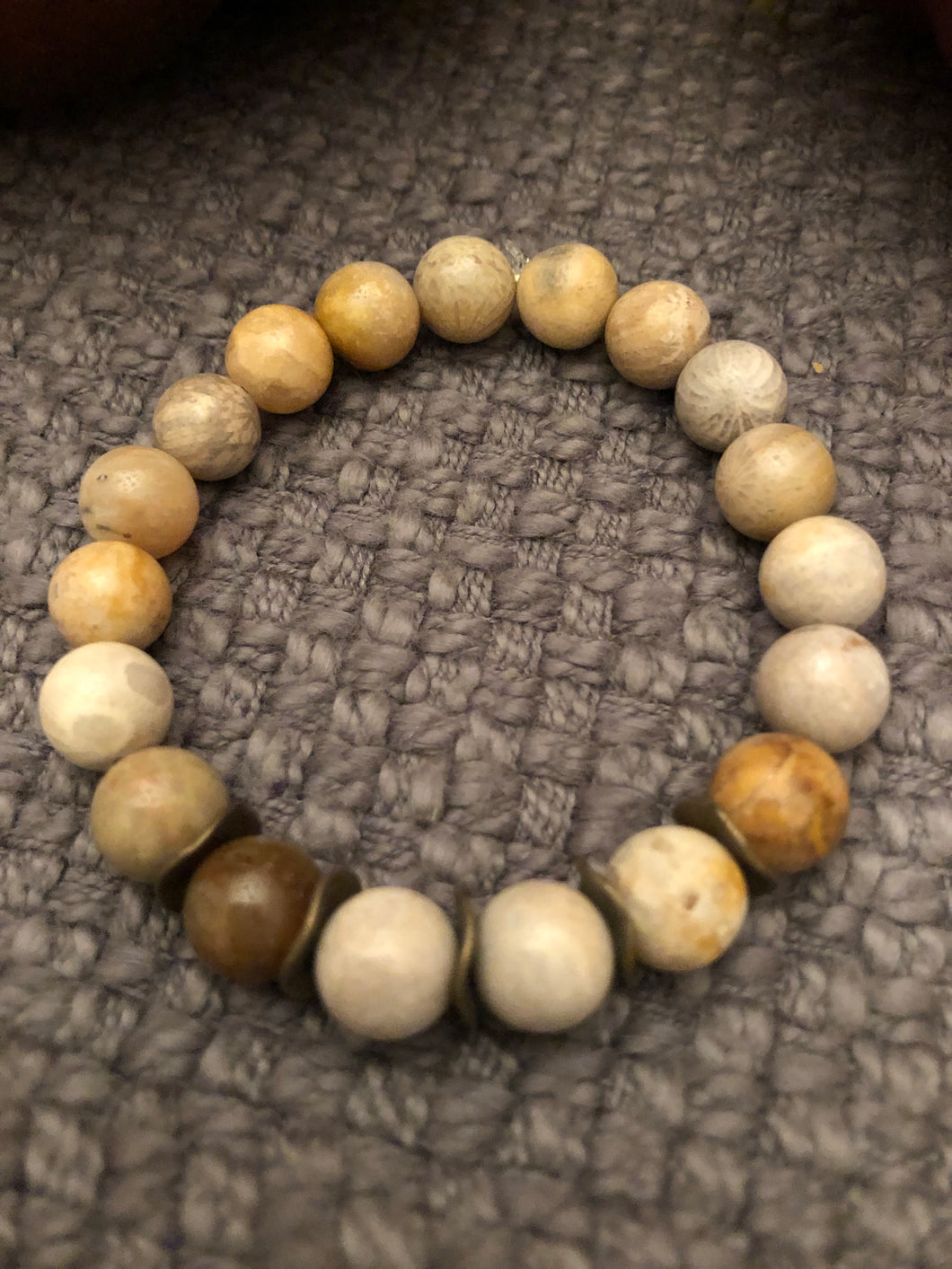 10mm Fossil Jasper with Bronze Metal Accebts