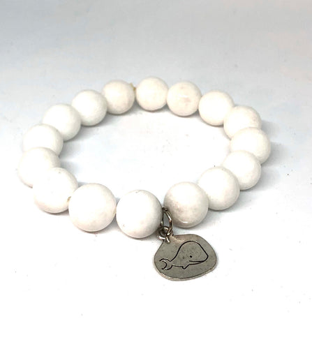 12mm White Jade with Silver Whale