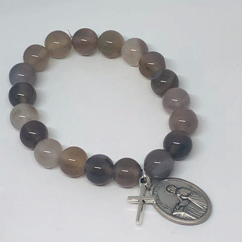 10mm Gray Stripe Agate with Religious Medal