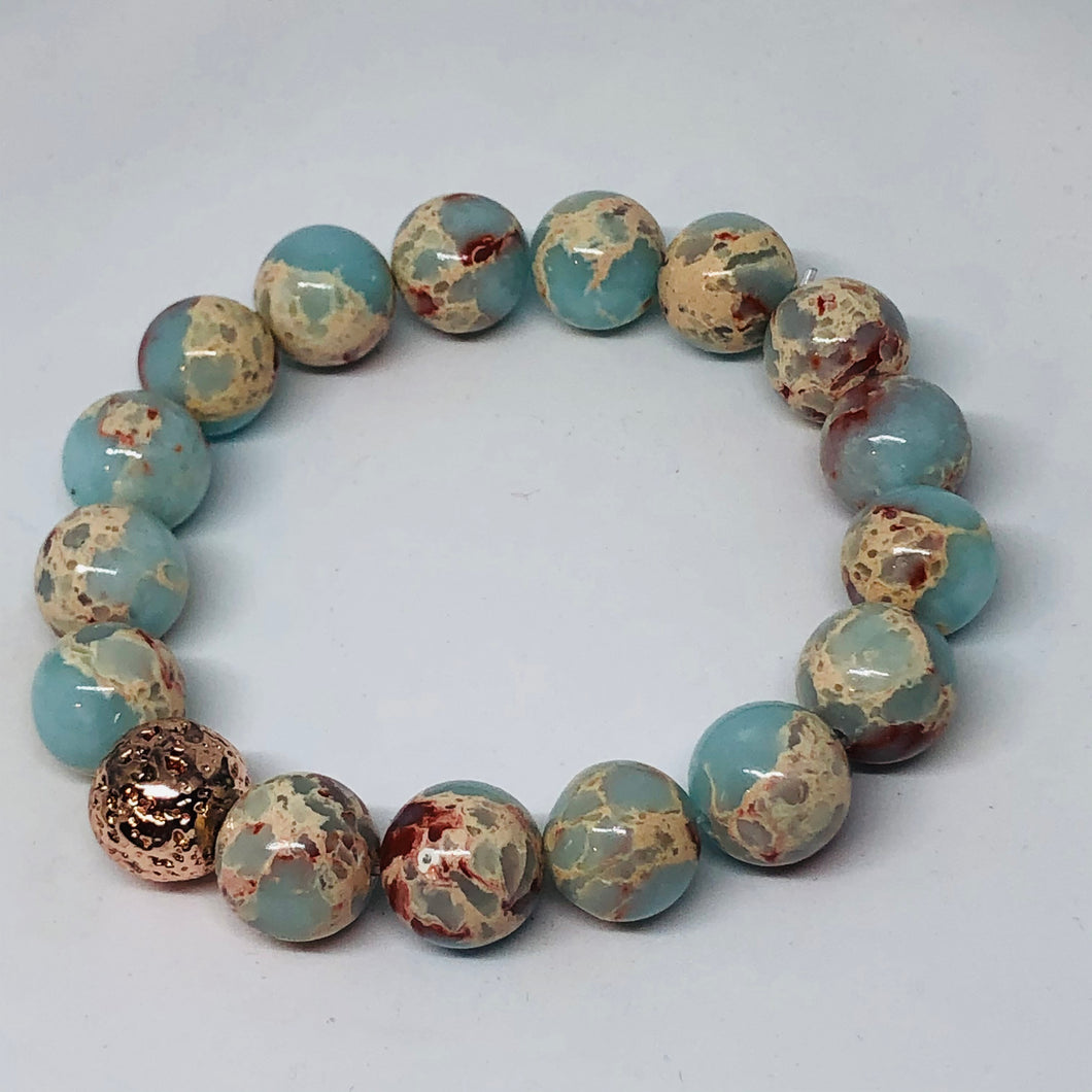 12mm Aqua Imperial Jasper with Rose Gold-Plated Lava Bead