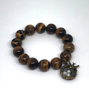14mm Tiger Eye with Bronze Nest Medal