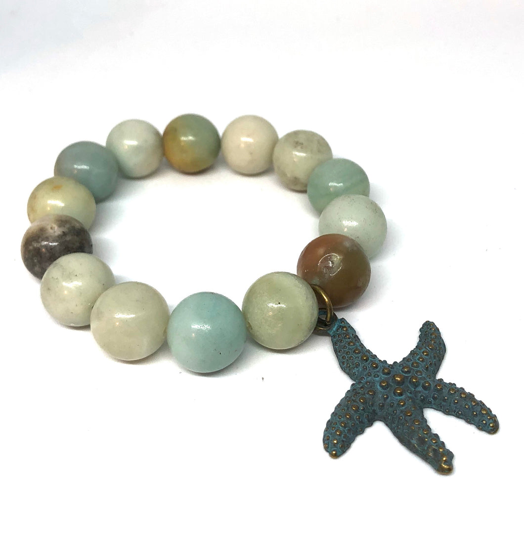 14mm Amazonite with Bronze Patina Star Fish