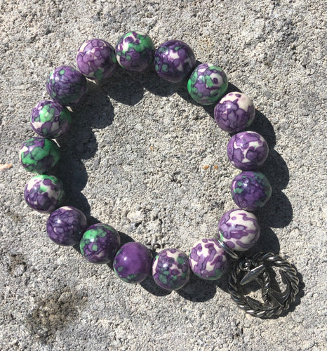 12mm Purple & Green Watercolor Jade with Silver Anchor