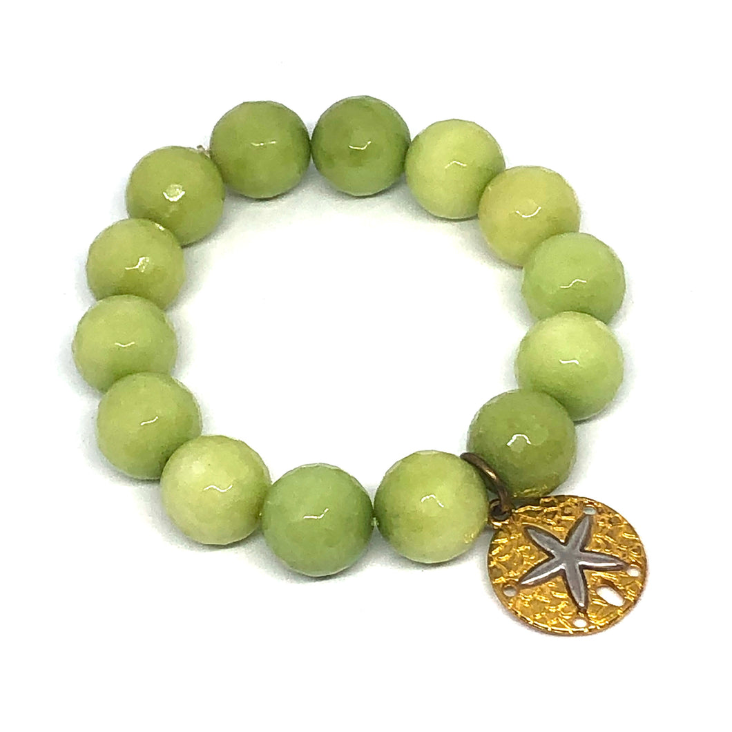 14mm Lime Jade with Brass Sanddollar