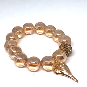 14mm Champagne Quartz with Golden Hammered Heart