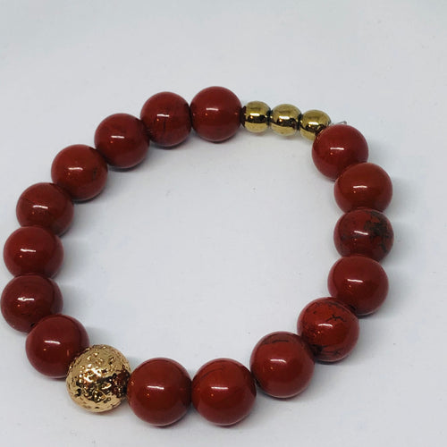 10mm Red Jasper with Gold-Plated Lava Bead