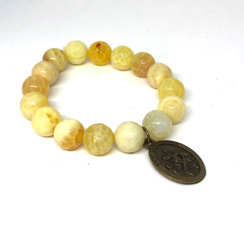 12mm Yellow Agate with St. Christopher Medal
