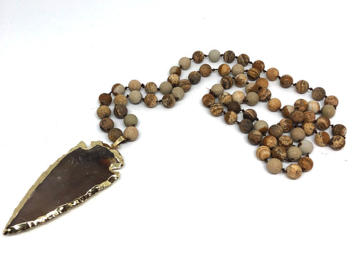 Picture Jasper Hand-Knotted Rope Necklace