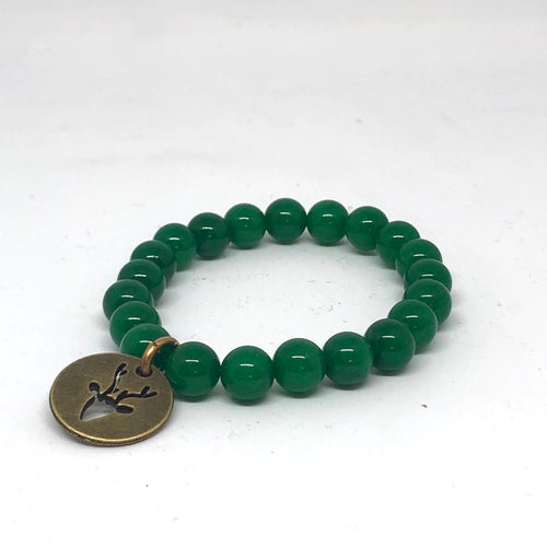 8mm Green Jade with Bronze Reindeer