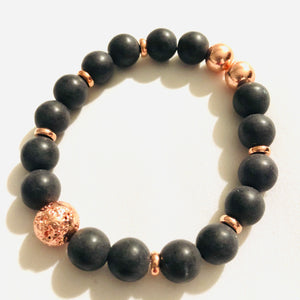 10mm Matte Black Agate with Rose Gold-Plated Lava Bead