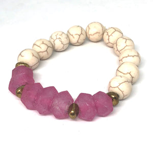 Fuschia Sea Glass and Howlite with African Brass