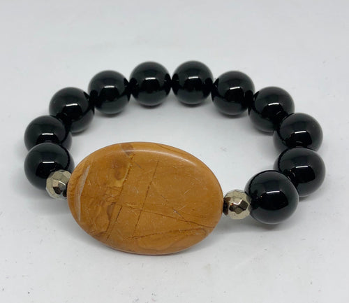 Scene Jasper with Black Onyx Statement Bracelet