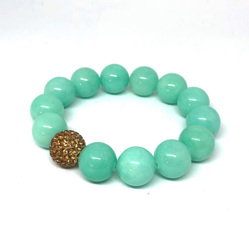 14mm Amazonite Jade with Gold Crystal Pave