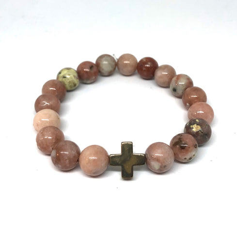 Cherry Blossom Jasper and Champagne Hematite Cross Hope Collection Bracelet