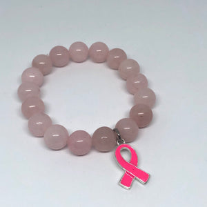 12mm Rose Quartz with Breast Cancer Awareness Ribbon