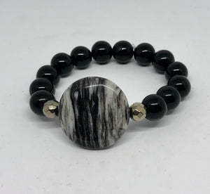 Web Jasper with Black Onyx Statement Bravelet