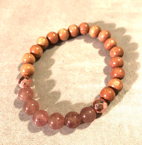 8mm Strawberry Quartz and Rosewood Diffuser Bracelet