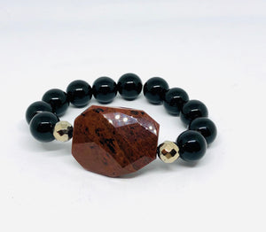 Mahogany Obsidian with Black Onyx Statement Bracelets