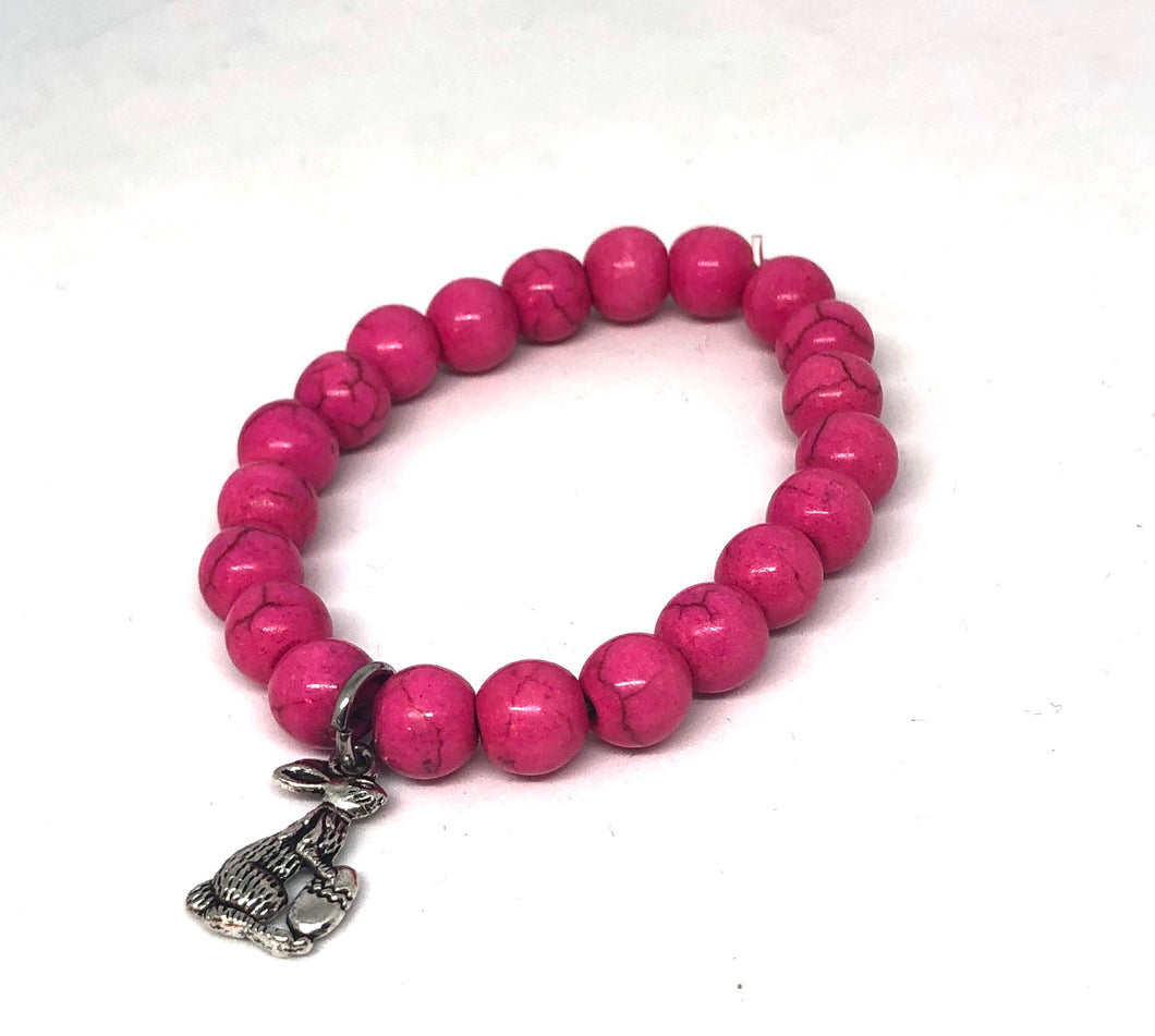 8mm Bright Pink Howlite with Silver Bunny