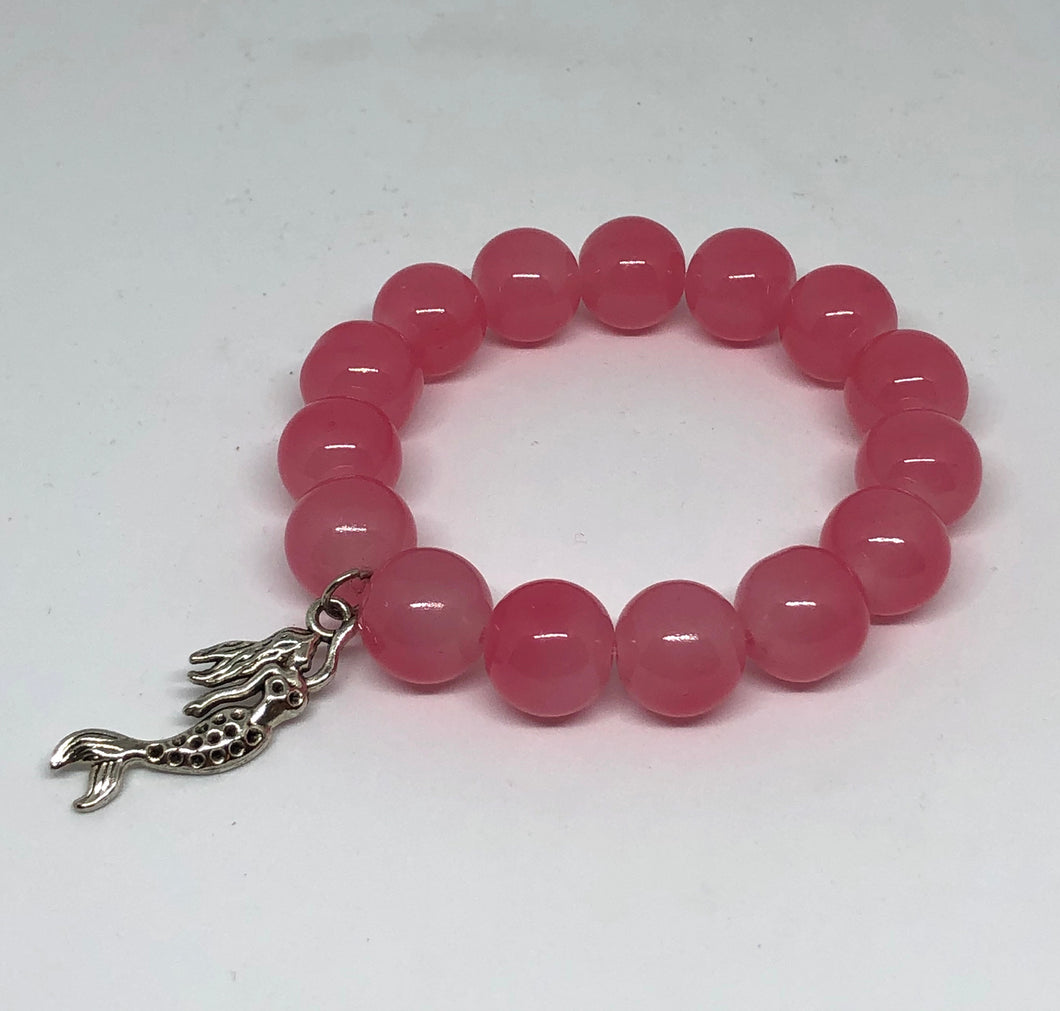 14mm Pink Jade with Mermaid