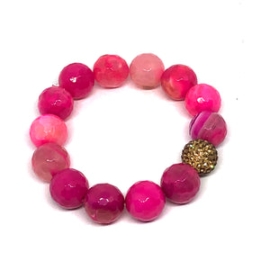 14mm Deep Pink Agate with Golden Pave Accent