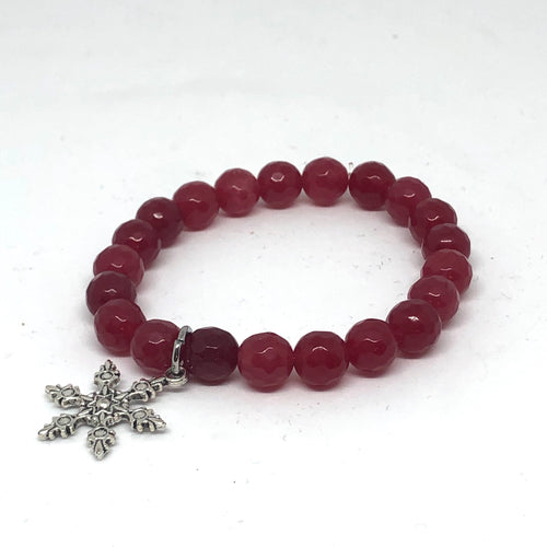 8mm Red Jade with Snowflake