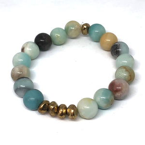 Amazonite and Gold Accent Layering Bracelet
