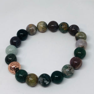 10mm Indian Agate with Rose Gold-Plated Lava Bead