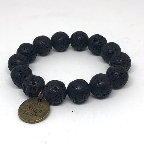 14mm Lava Rock with bronze medal