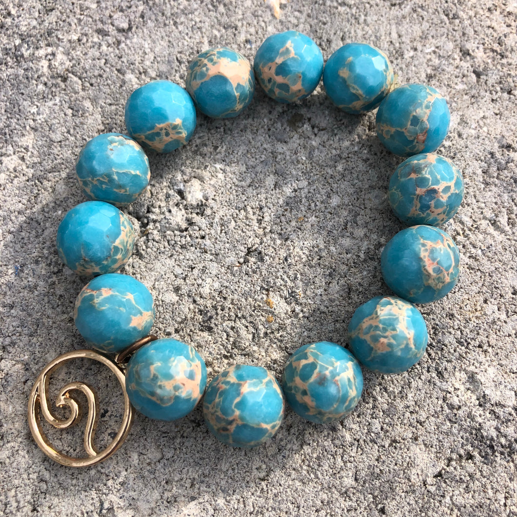 14mm Aqua Sediment Jasper with Gold Wave