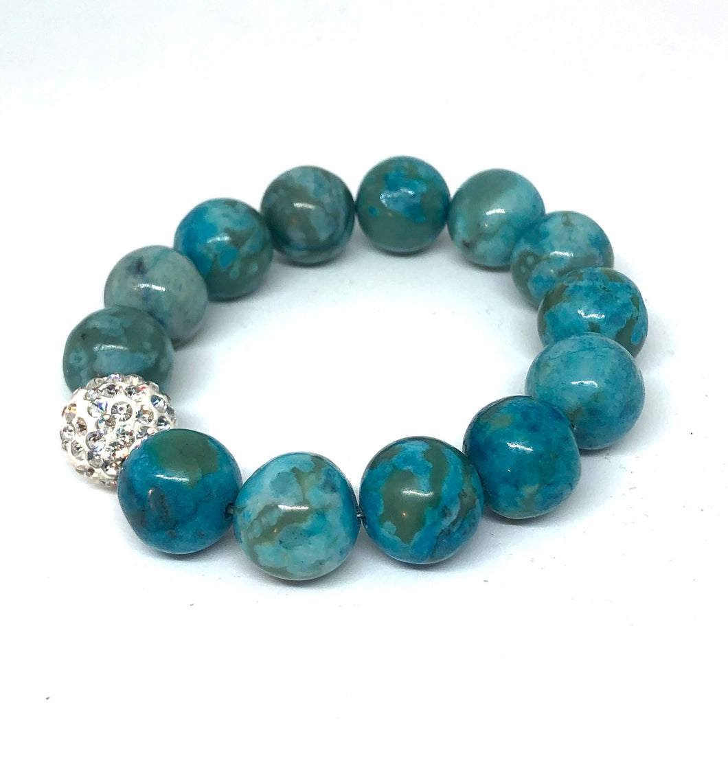 14mm Blue Crazy Lave Agate with Crystal Pave