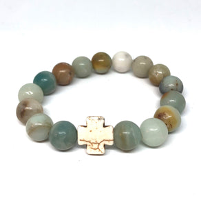 Amazonite and Howlite Cross Hope Collection Bracelet