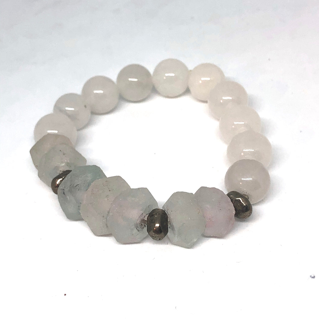Lilac Sea Glass and Quartz with African Silver