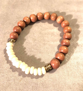 8mm Ivory Java Glass and Rosewood Diffuser Bracelet