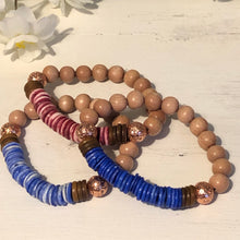 10mm Color Wash Bone Heishi Rosewood Diffuser Bracelet