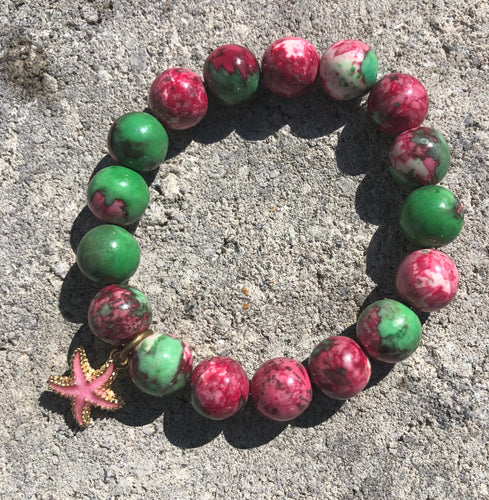 12mm Plum & Green Watercolor Jade with Starfish