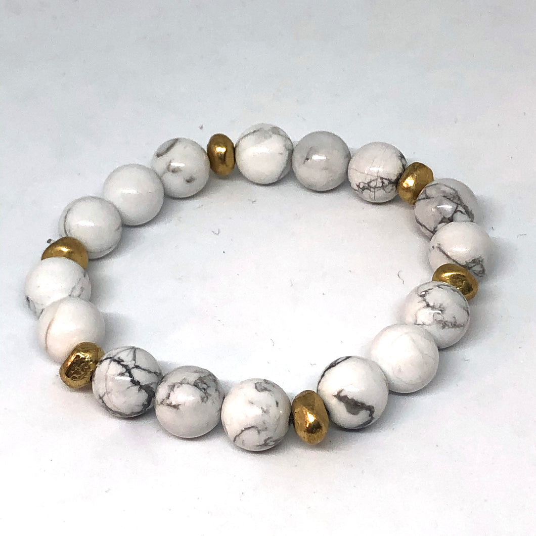 Howlite and Gold Accent Layering Bracelet