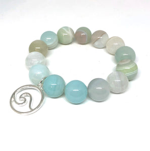 14mm Seafoam Stripe Agate with Silver Wave