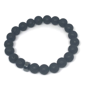 Men's 10mm Lava Rock with Hematite Rondelle